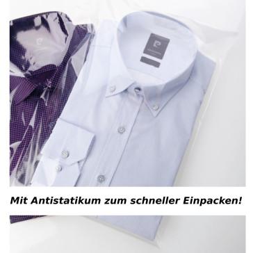 500 Hemdenbeutel, 28 x 40 + 5 cm Klappe, transparent mit Antistatikum, 35 mü