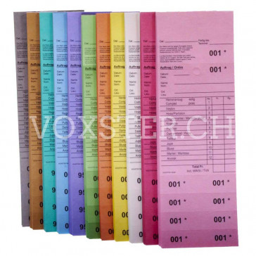 Annahmeblock auf Deutsch in 11 Farben, Schweizer Version