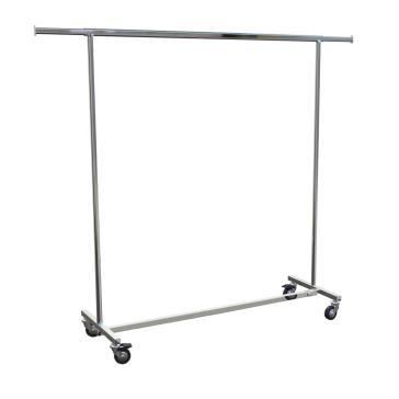 Rollkleiderständer aus Metall zum Zusammenklappen, feste Höhe, komplett verchromt, Länge 150 cm