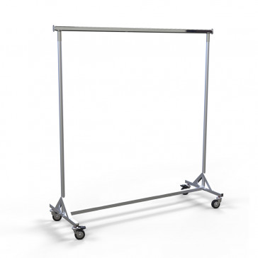 Industrierollkleiderständer aus Metall, stapelbar, Farbe Alugrau, Länge 150 cm