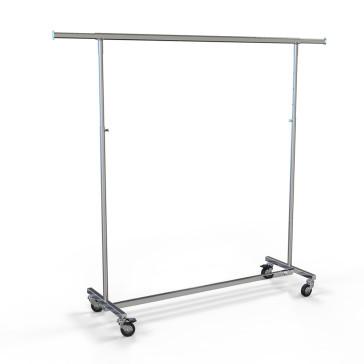 Rollkleiderständer aus Metall zum Zusammenklappen, höhenverstellbar, komplett verchromt, Länge 150 cm