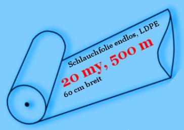 Schlauchfolie Optima, endlos, LDPE, 20 my, 60 cm breit, 500 Meter