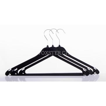 Plastikbügel, 42.5 cm breit, schwarz mit gummierten Hostensteg.