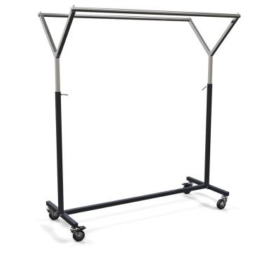 Rollkleiderständer mit Y-Doppelkleiderstange aus Metall, Farbe schwarz/verchromt, Länge 135 cm