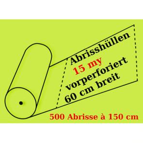 Vorperforierte Abrissfolienschlauch aus LDPE, 15 my, 500 Abrisse je 90, 120 oder 150 cm.