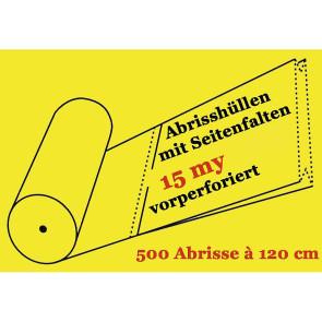 Perforierter Abrissfolienschlauch mit Seitenfalte 2 x 9 cm, LDPE, 15 my, 500 Abrisse je 90 cm, 56 cm breit.