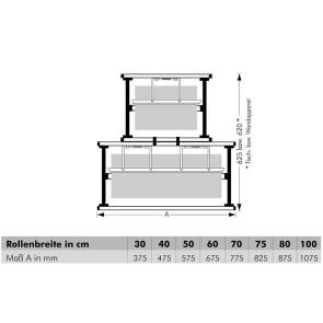 Aufsatz-Abroller, für Rollenbreite 30 cm bis 100 cm, Messer gezahnt oder glatt