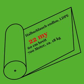 Halbschlauchfolie  endlos, LDPE, 22 my, 65 cm breit, 700 Meter