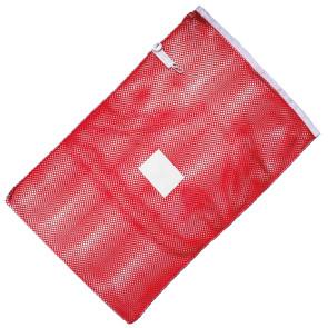 Wäschenetz 40 x 60 cm mit stabiler Bandeinfassung, integriertem Verschluss und 13 x 10 cm Kennzeichnungsgewebe in fünf Farben
