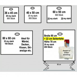 Plasticksäcke, weiss, in 6 verschiedenen Grössen