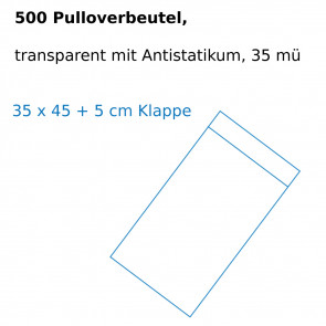 500 Pulloverbeutel, 35 x 45 + 5 cm Klappe, transparent mit Antistatikum, 35 mü