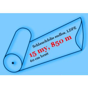 Schlauchfolie endlos, LDPE, 15 my, 60 cm breit, 850 Meter