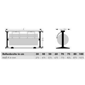 Tisch-Abroller, für Rollenbreite 30 cm bis 100 cm, Messer gezahnt oder glatt