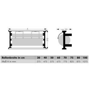 Wand-Abroller, für Rollenbreite 30 cm bis 100 cm, Messer gezahnt oder glatt